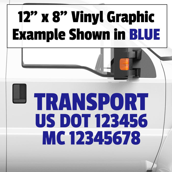 Company Name, USDOT & MC 3 Line Vinyl Graphic Lettering Decal (Set of 2)