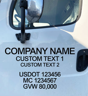 company name truck door decal with usdot mc gvw decal lettering