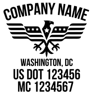 company name with eagle, flag ,country and US DOT