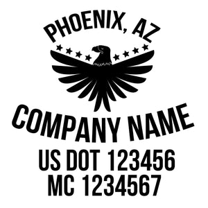 Company Name Truck Decal with 2 Regulation Lines, USDOT (Set of 2)
