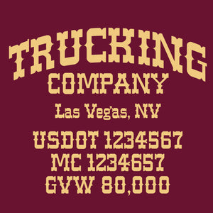 trucking company name decal with usdot mc gvw sticker