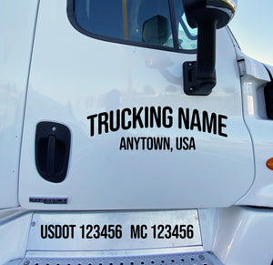 arched trucking name with usdot mc lettering