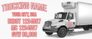 trucking name with usdot mc gvw lettering decal