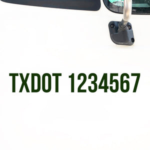 TXDOT Number Decal Sticker