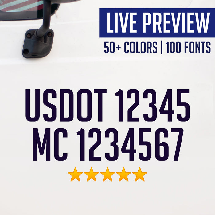USDOT & MC Truck Decal Sticker (Live Preview) Set of 2