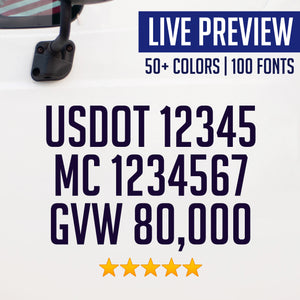 usdot mc gvw truck decal sticker live preview