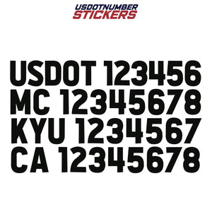 us dot mc kyu ca number decal sticker