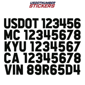 usdot mc kyu ca vin decal sticker