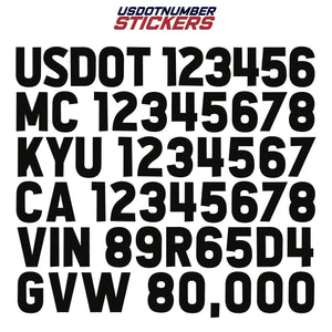 usdot mc kyu ca vin gvw decal sticker