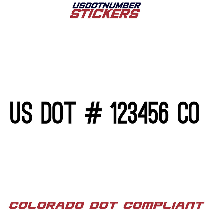 USDOT Number Sticker Colorado (CO) (Set of 2)