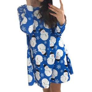 Fashion  Women Long Sleeve Christmas Snowman Printing Christmas Party Dress