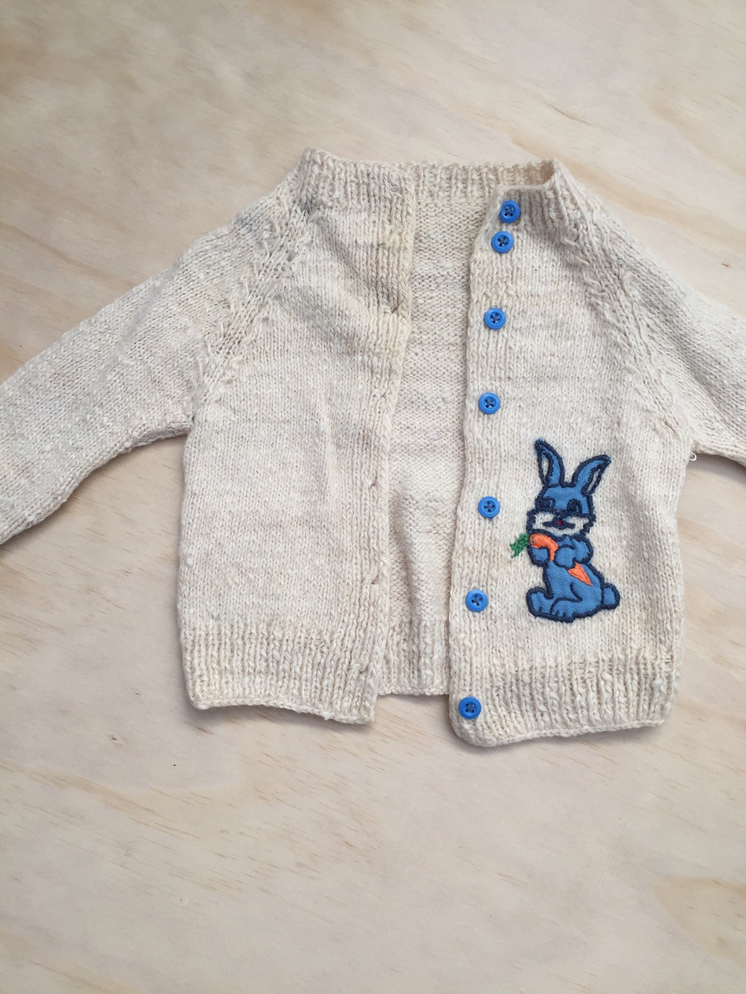 Handknitted Russian Rabbit cardigan — Size 2