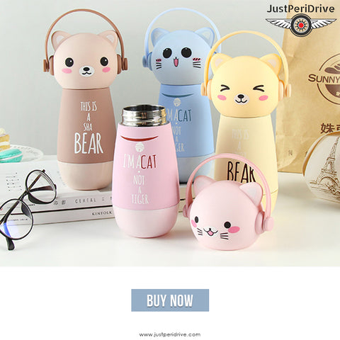 Trending Cat Face Thermos Flask For Kids