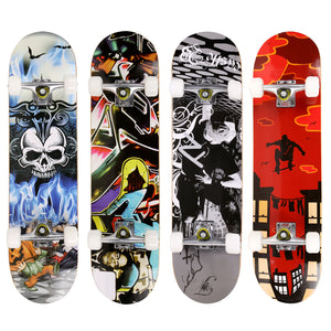 Elifine Pro Skull Pattern Skateboard for extreme sports