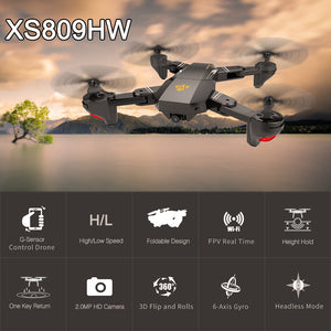 FOV Wide Angle Selfie Camera Drone - Foldable RC Quadcopter
