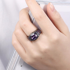 Crystal Black-Gold Rings, Women Fashion Jewelry