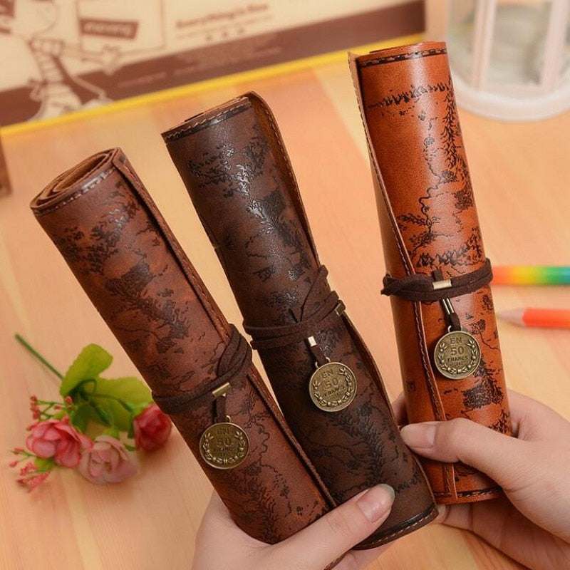 Vintage Leather Treasure Map Pencil Case - JustPeri - Drive Your Destiny