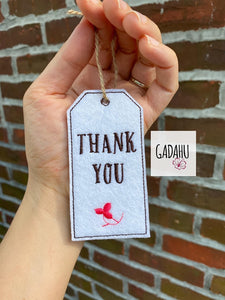 Thank You Tag ITH Embroidery design