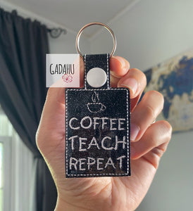 Coffee Teach Repeat Snap tab Key Fob ITH Embroidery Design file