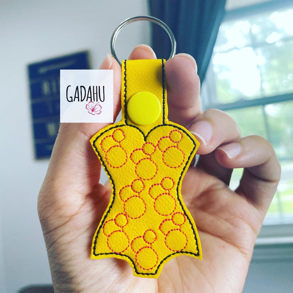 Swimwear Snap tab Key Fob ITH Embroidery Design file