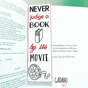 Never judge a book by its movie bookmark ITH Embroidery design 5x7