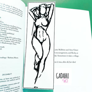 Nude Woman bookmark ITH Embroidery design 5x7