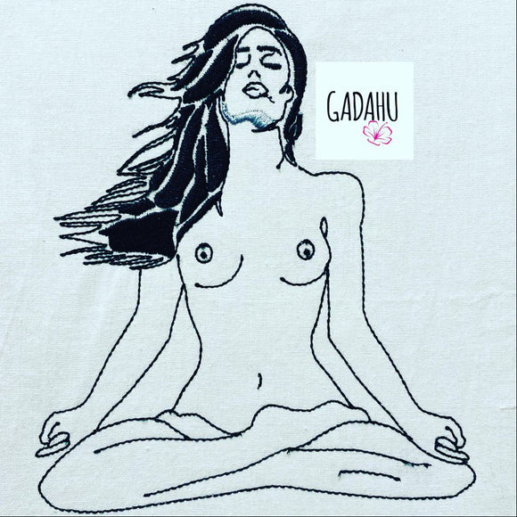 Naked Yoga Woman Embroidery Design 5x5 6x6 7x7 Instant Digital Embroidery Design