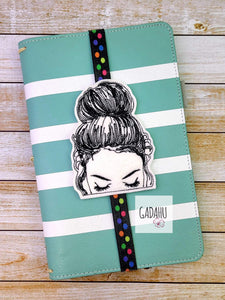 Girl with Messy Bun Planner Bookmark ITH Embroidery design 4x4