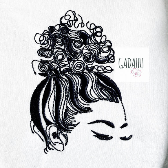 Curly messy bun Machine Embroidery Design 4x4 5x7 6x10 Instant Digital Embroidery Design