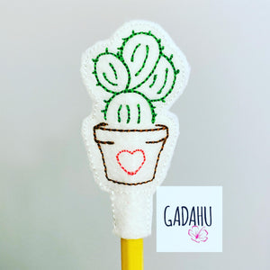 Cactus Pencil Topper ITH Embroidery design