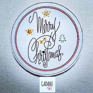 Merry Christmas Coaster ITH Machine Embroidery design file