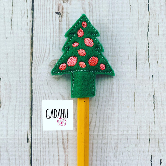 Christmas Tree Pencil Topper ITH Embroidery design