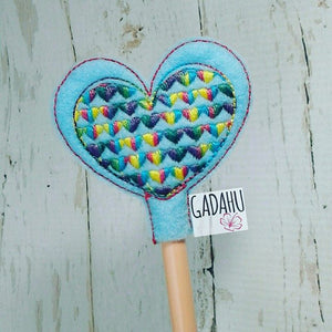 Heart Pencil Topper ITH Embroidery design