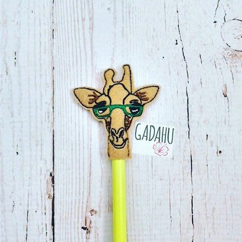 Giraffe with Glasses Pencil Topper ITH Embroidery design