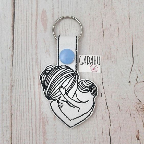 Mother and Son Snap tab Key Fob ITH Embroidery Design file