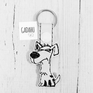 Suspicious Dog Snap tab Key Fob ITH Embroidery Design file
