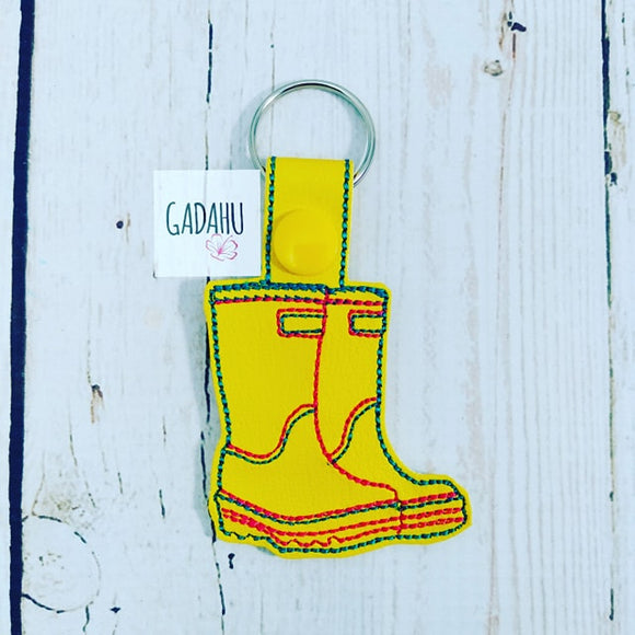 Rain Boots Snap tab Key Fob ITH Embroidery Design file