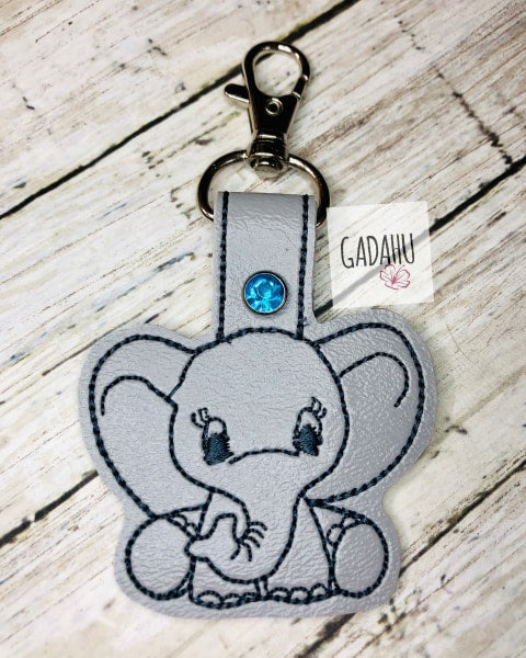 Cute Elephant Snap tab Key Fob ITH Embroidery Design file