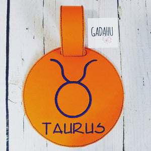 Taurus Zodiac Sign Luggage Tag ITH Embroidery design