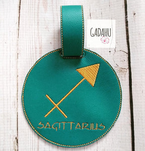 Sagittarius Zodiac Sign Luggage Tag ITH Embroidery design