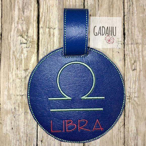 Libra Zodiac Sign Luggage Tag ITH Embroidery design