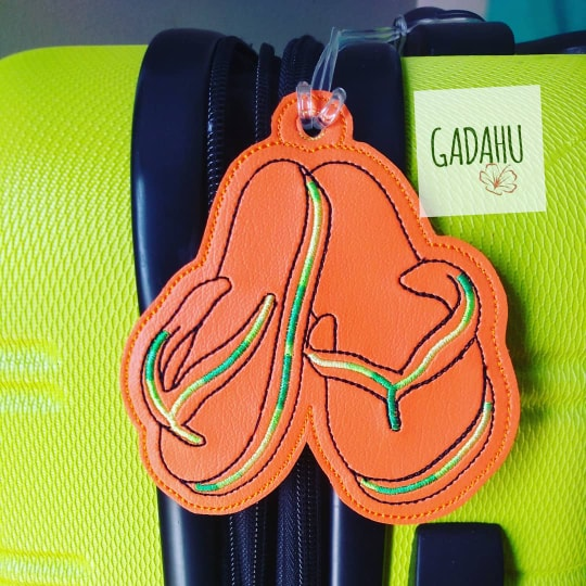 Flip Flops Luggage Tag ITH Embroidery design