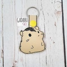 Hamster Snap tab Key Fob ITH Embroidery Design file