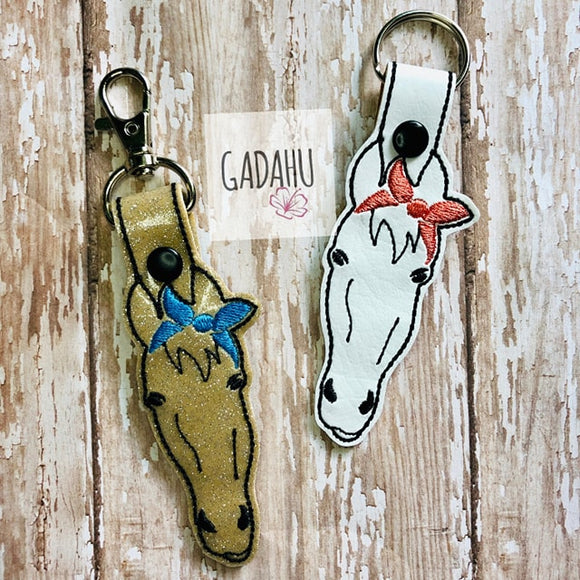 Horse with Bow Snap tab Key Fob ITH Embroidery Design file