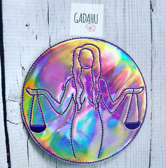 Libra Girl Coaster ITH Machine Embroidery design file