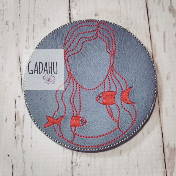 Pisces Girl Coaster ITH Machine Embroidery design file