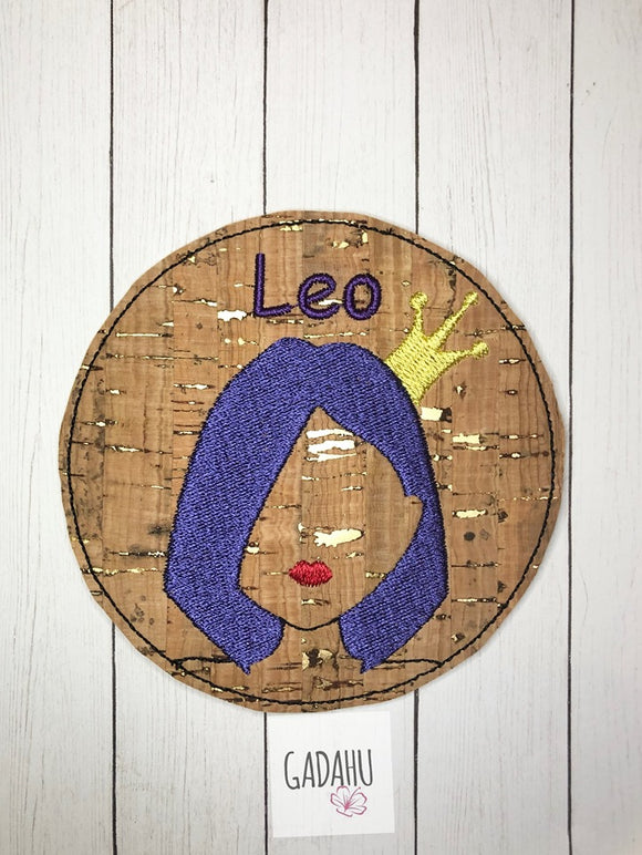 Leo Girl Coaster ITH Machine Embroidery design file
