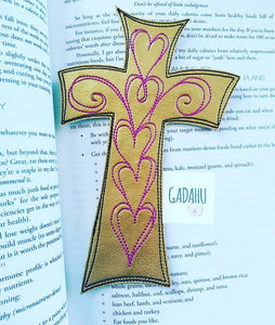 Cross bookmark ITH Embroidery design