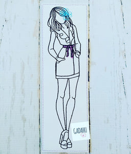 Girl with flower bookmark ITH Embroidery design