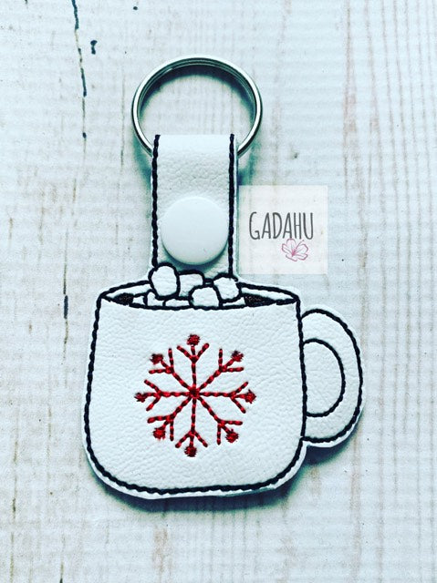 Snowflake Mug Snap tab Key Fob ITH Embroidery Design file